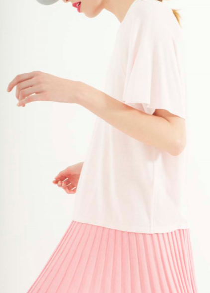 Zynni Cashmere basic short sleeve top in blush