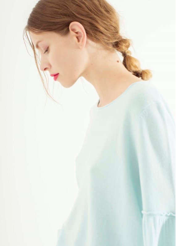 Zynni Cashmere balloon sleeve top in aqua