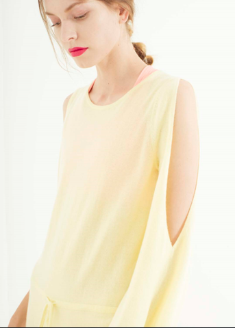Zynni Cashmere off-shoulder jumpsuit in lemonade