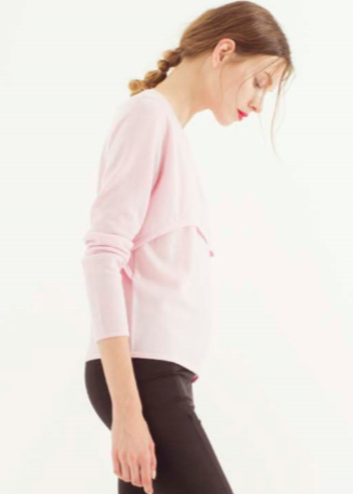 Zynni Cashmere layered pullover in blancmange pink