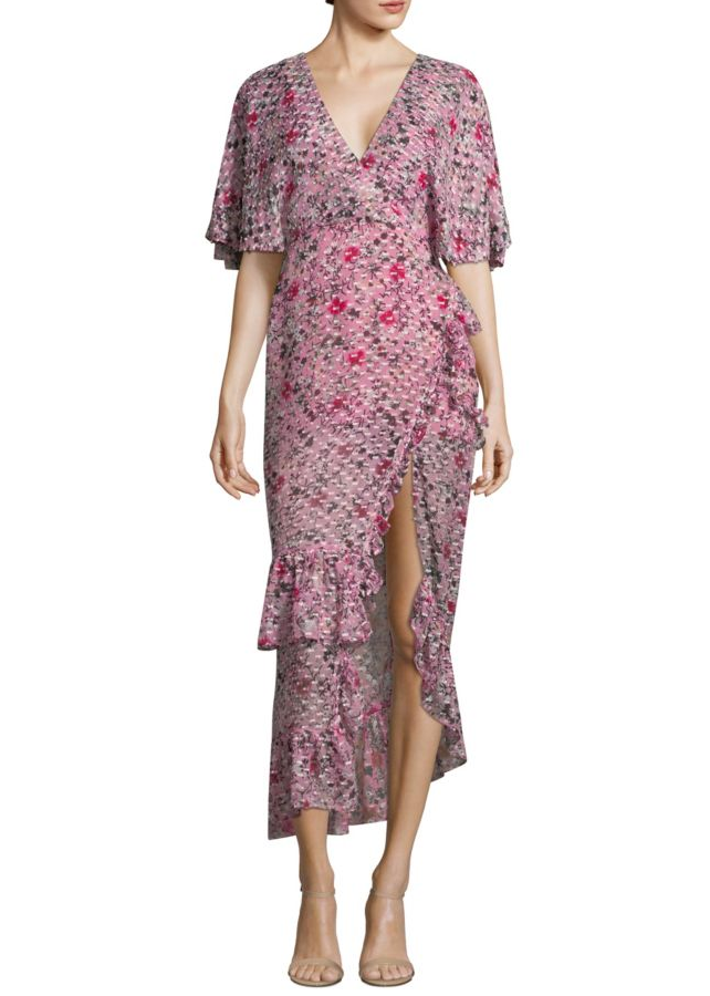 Saloni Rose dress in dobby georgette pink meadow