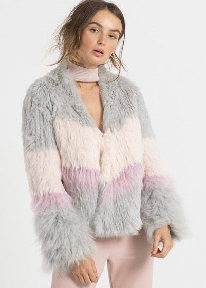 Bubish Sicily fur jacket in grey blush