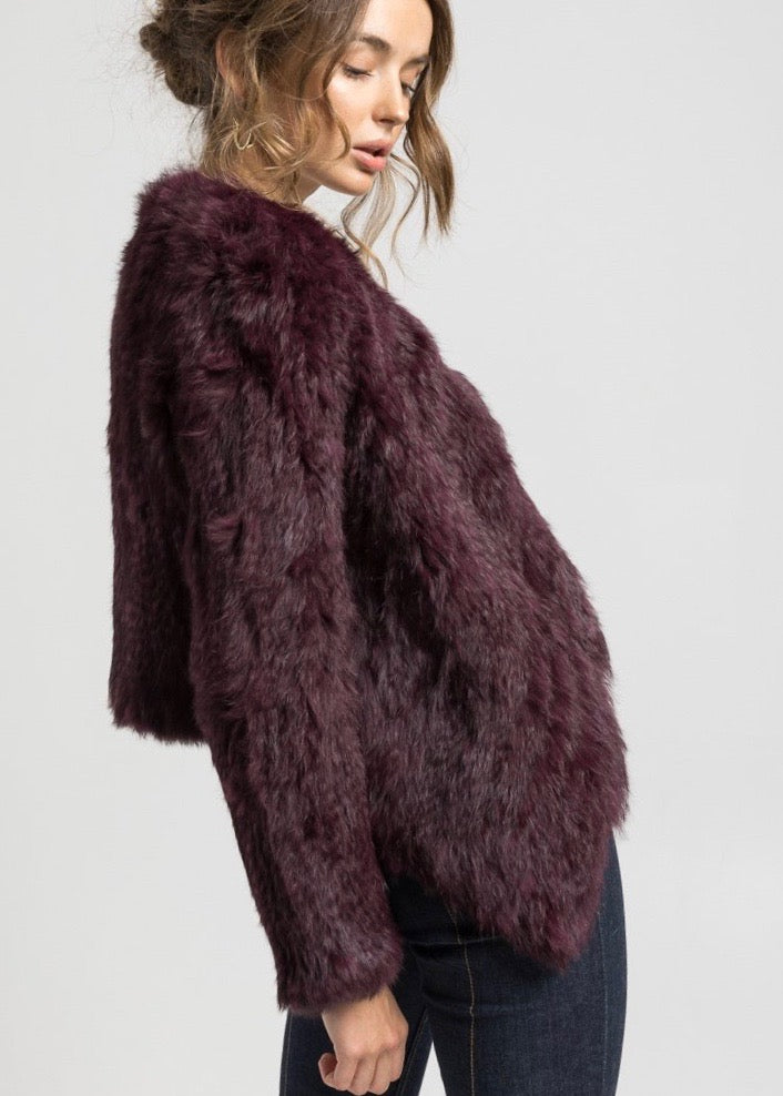 Bubish Soho cropped fur jacket in burgundy