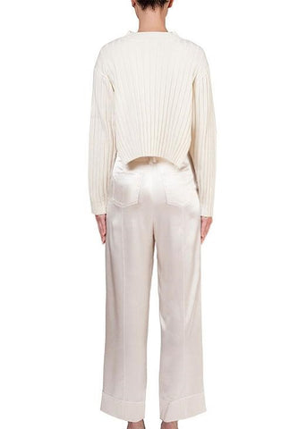 Arias Merino ribbed sweater in ivory