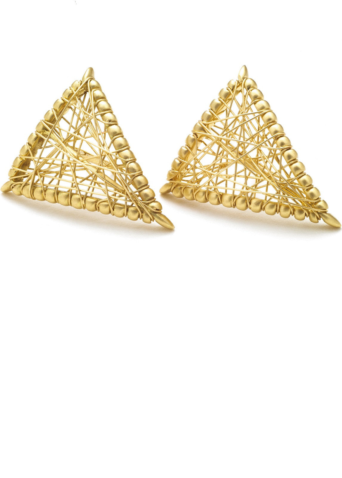 Lola Fenhirst 18K gold sybil shield stud earrings