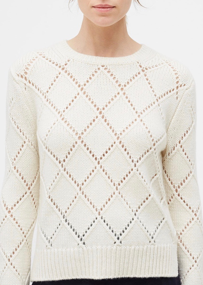 Chinti and Parker Textured harlequin sweater in cream