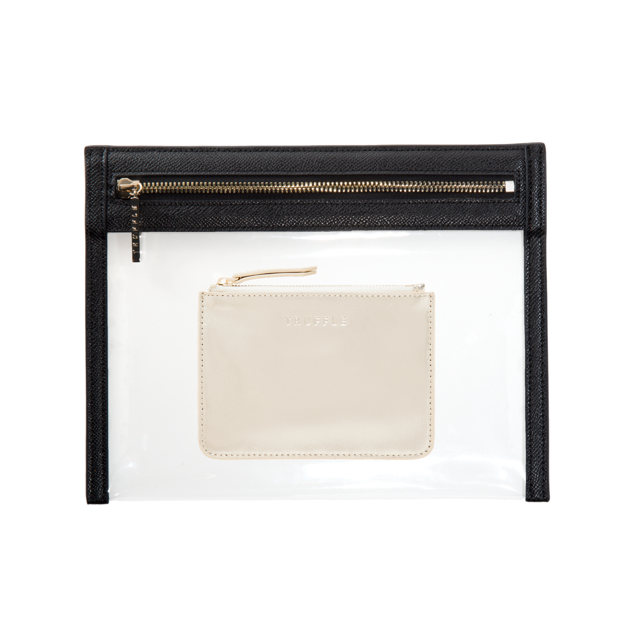 Truffle clarity clutch small & coin pouch black gold