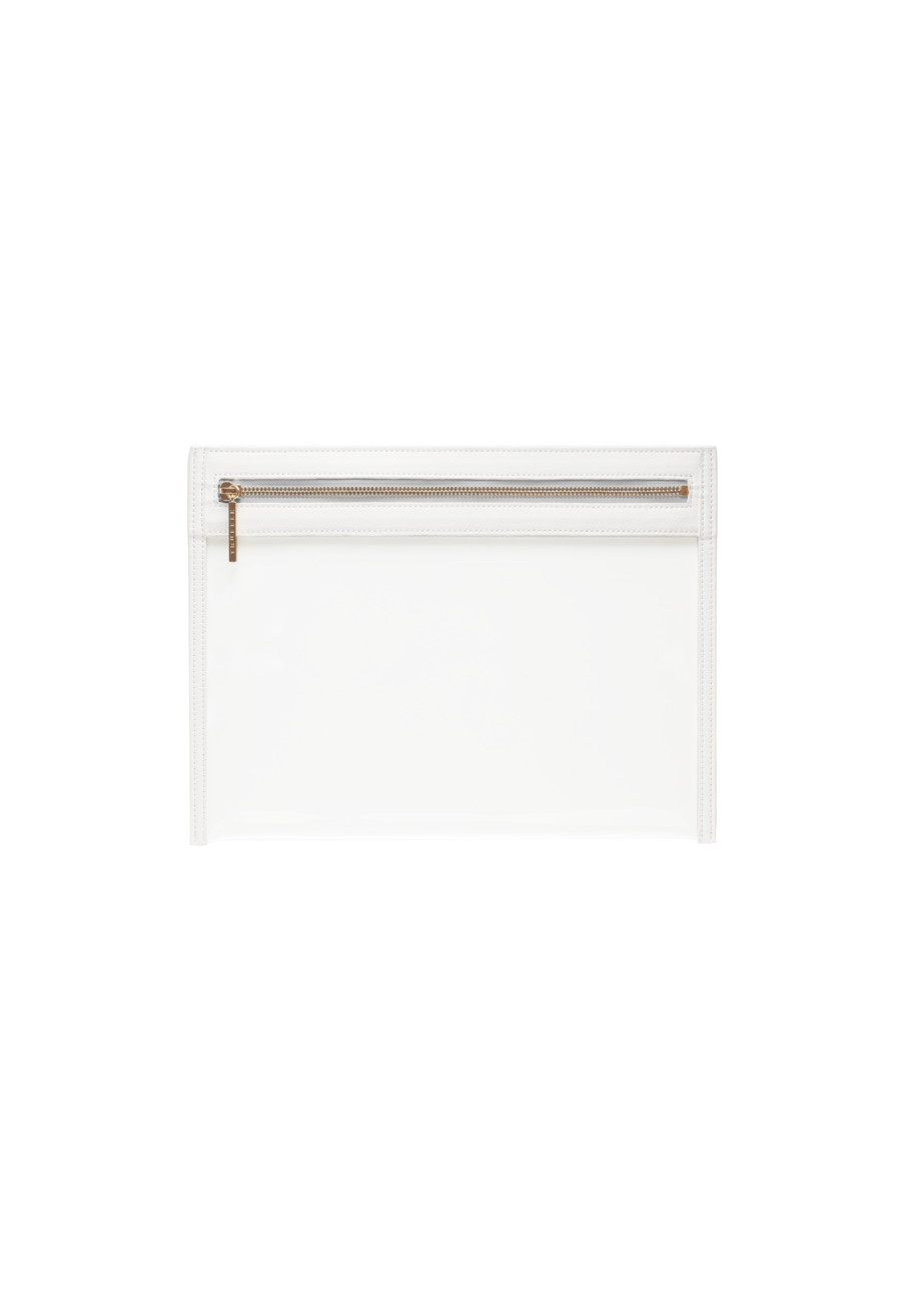 Truffle Clarity clutch large in white