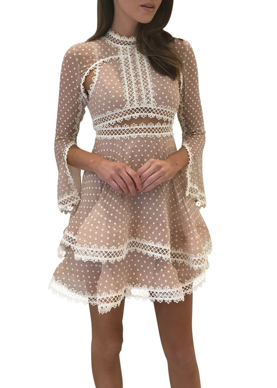 Thurley Tea Party Mini Dress nude ivory