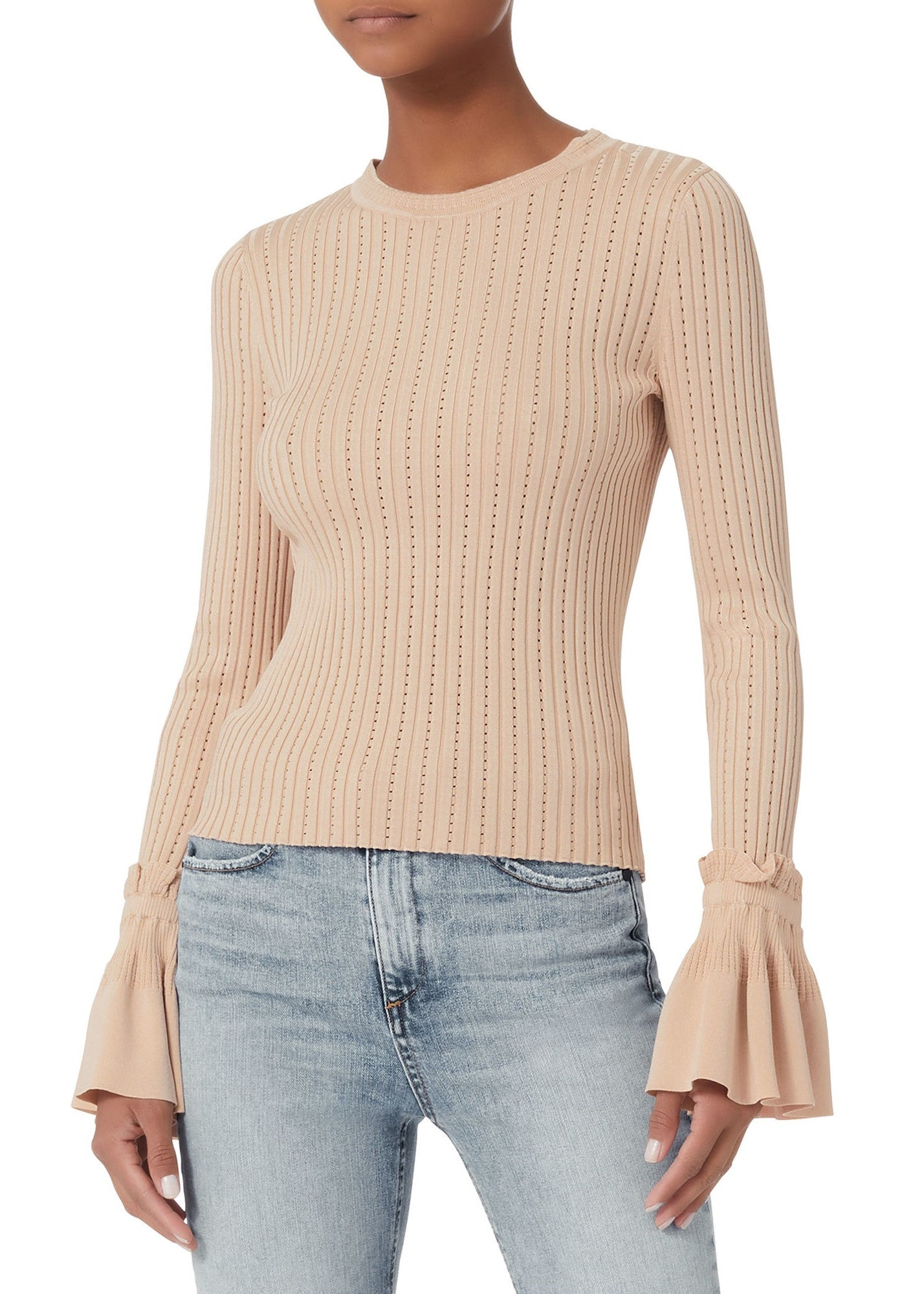 Jonathan Simkhai Applique Ruffle Knit Crewneck Sweater