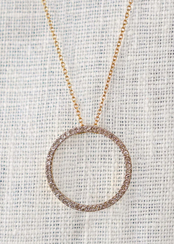 Design by Alina white diamond circle pendant necklace 14K gold