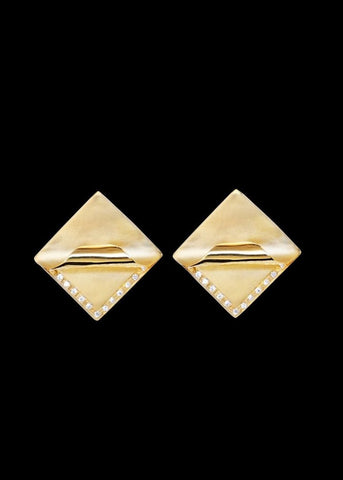 Designs by Alina Uncovered Studs 18K solid gold with white pave diamonds