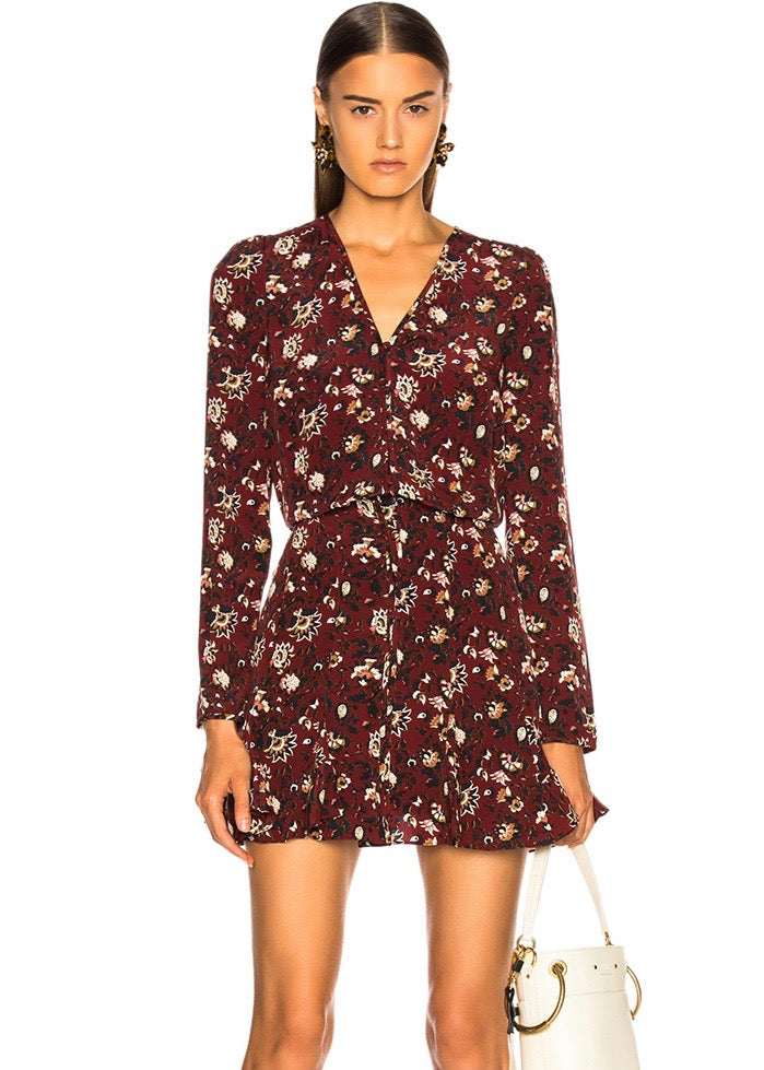 Veronica Beard Riggins dress in bordeaux multi
