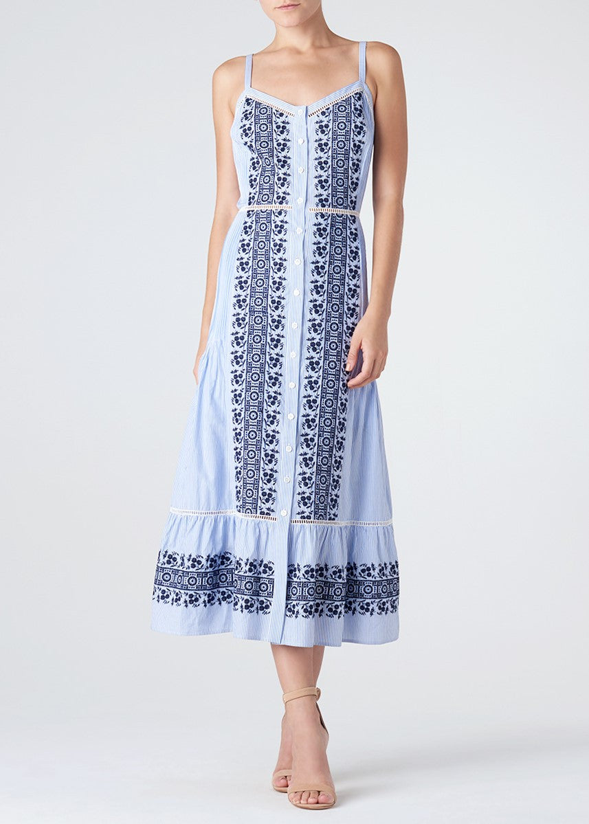 Veronica Beard joni eyelet midi shirt dress blue