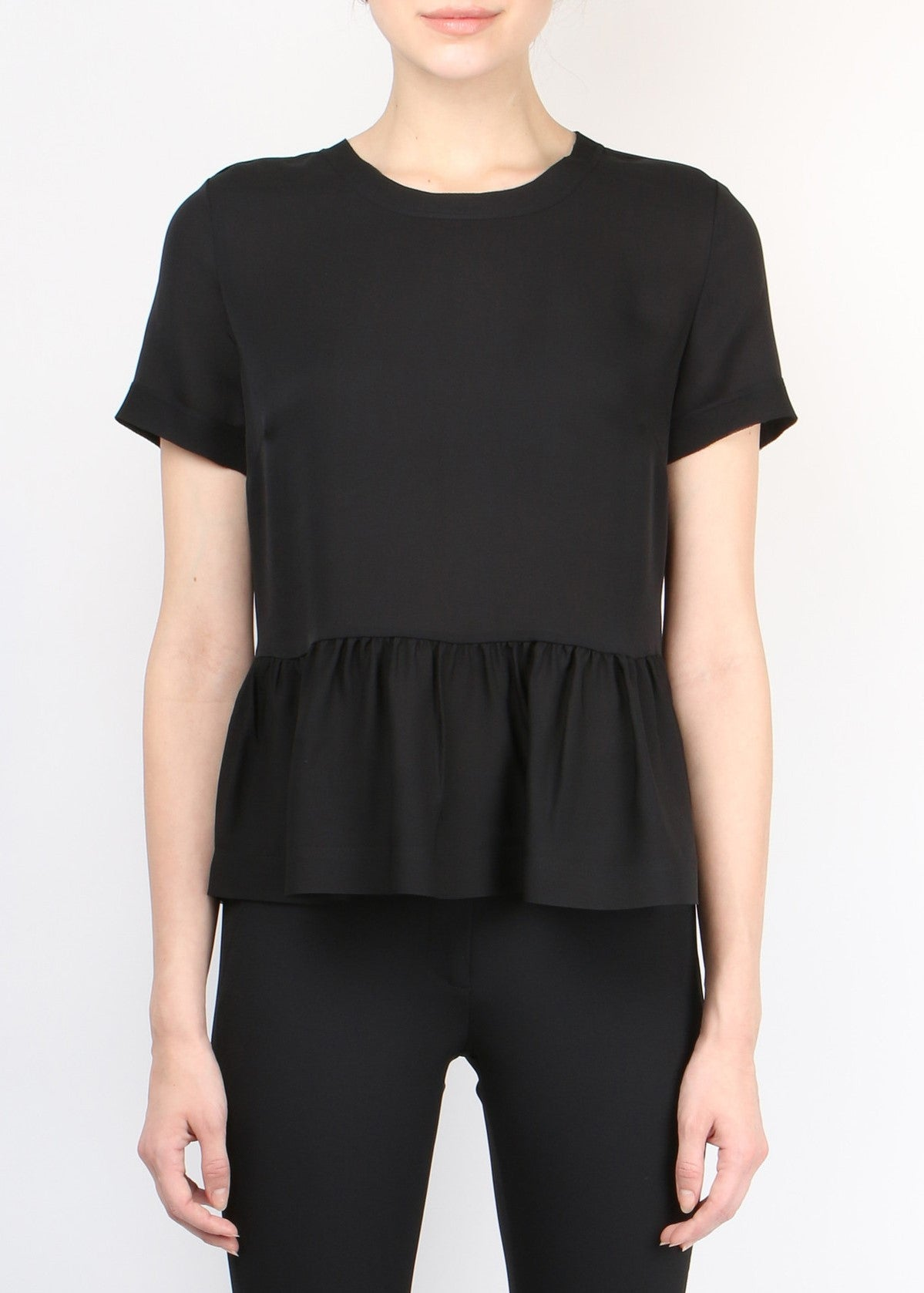 Veronica Beard silk scoop neck top black