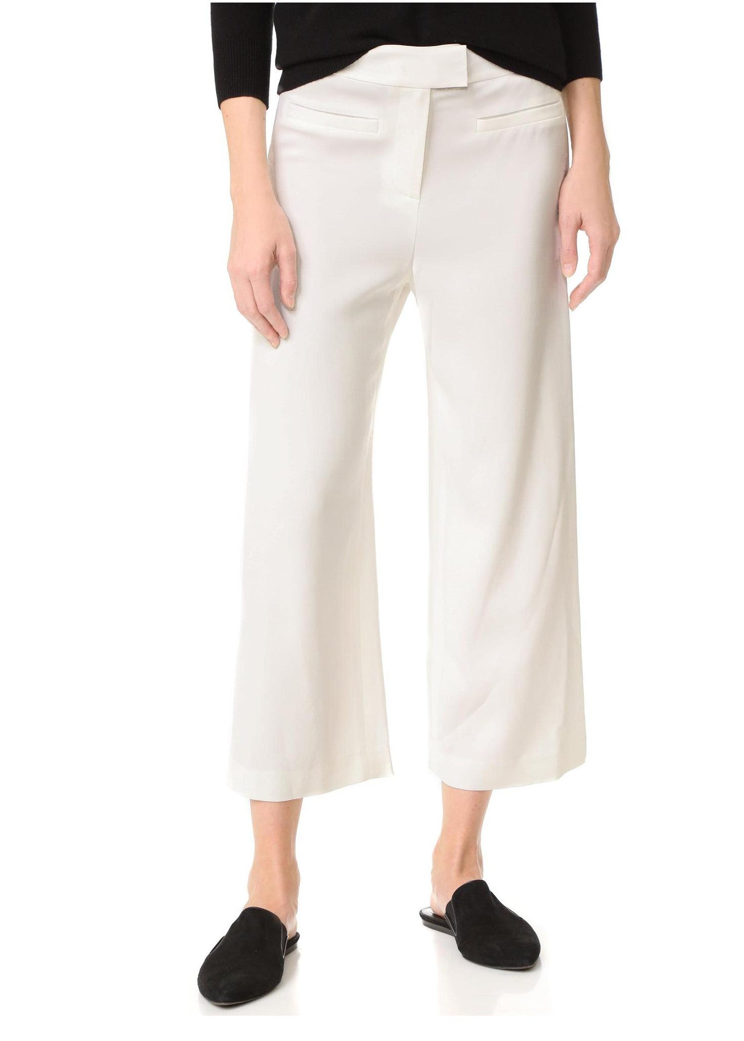 Veronica Beard lee cropped wide leg pant off white