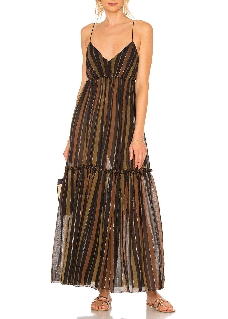 Zimmermann Tali tiered long dress in stripe