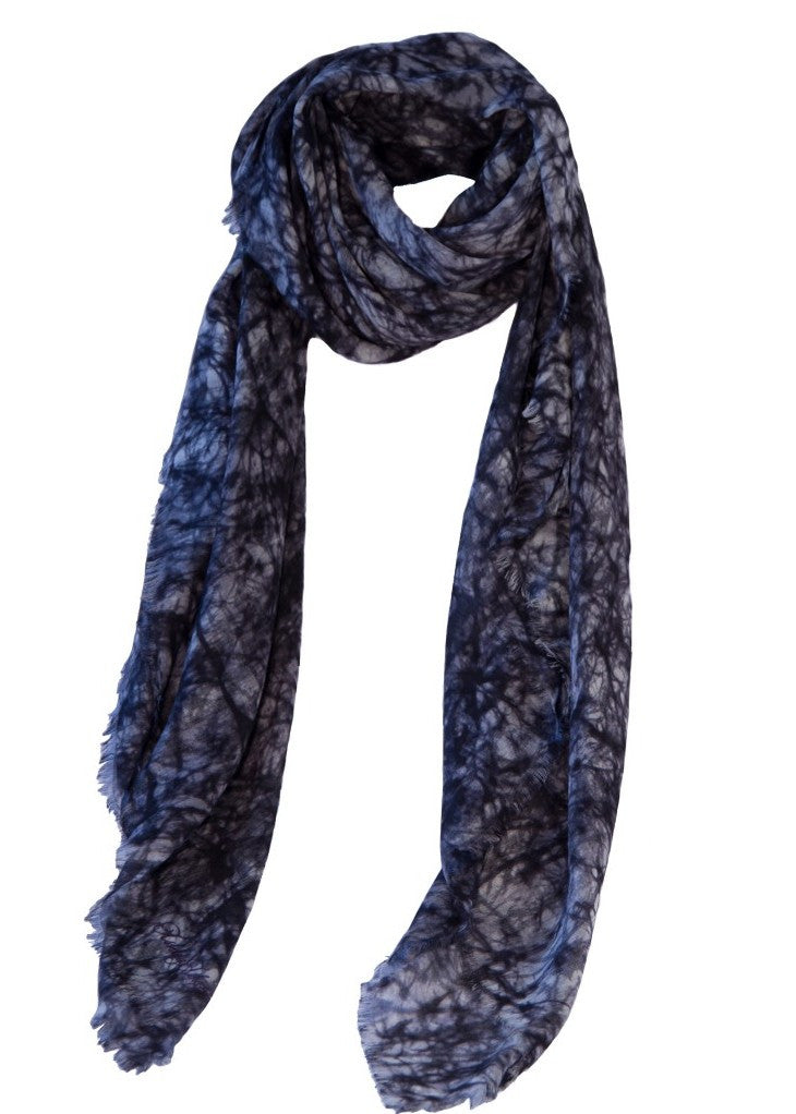 Ashley Ashoff tie dye cashmere blend scarf black white