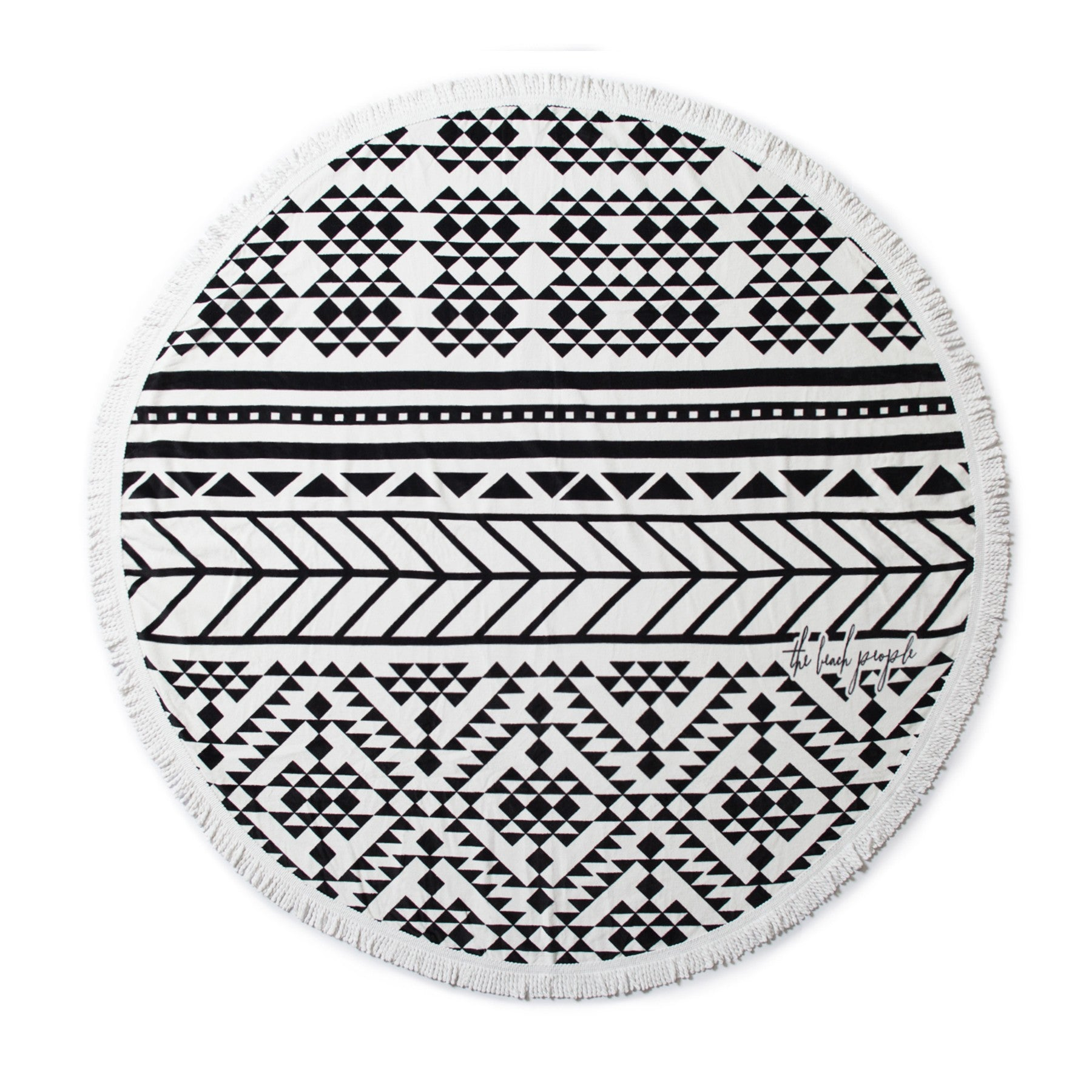 The Beach People Aztec towel black white