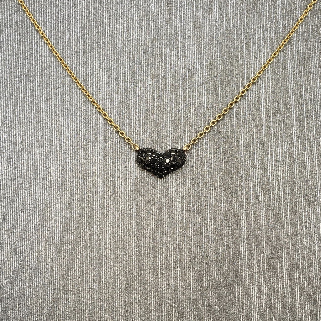 Rocks with Soul Baby Black Diamond Heart necklace rose gold