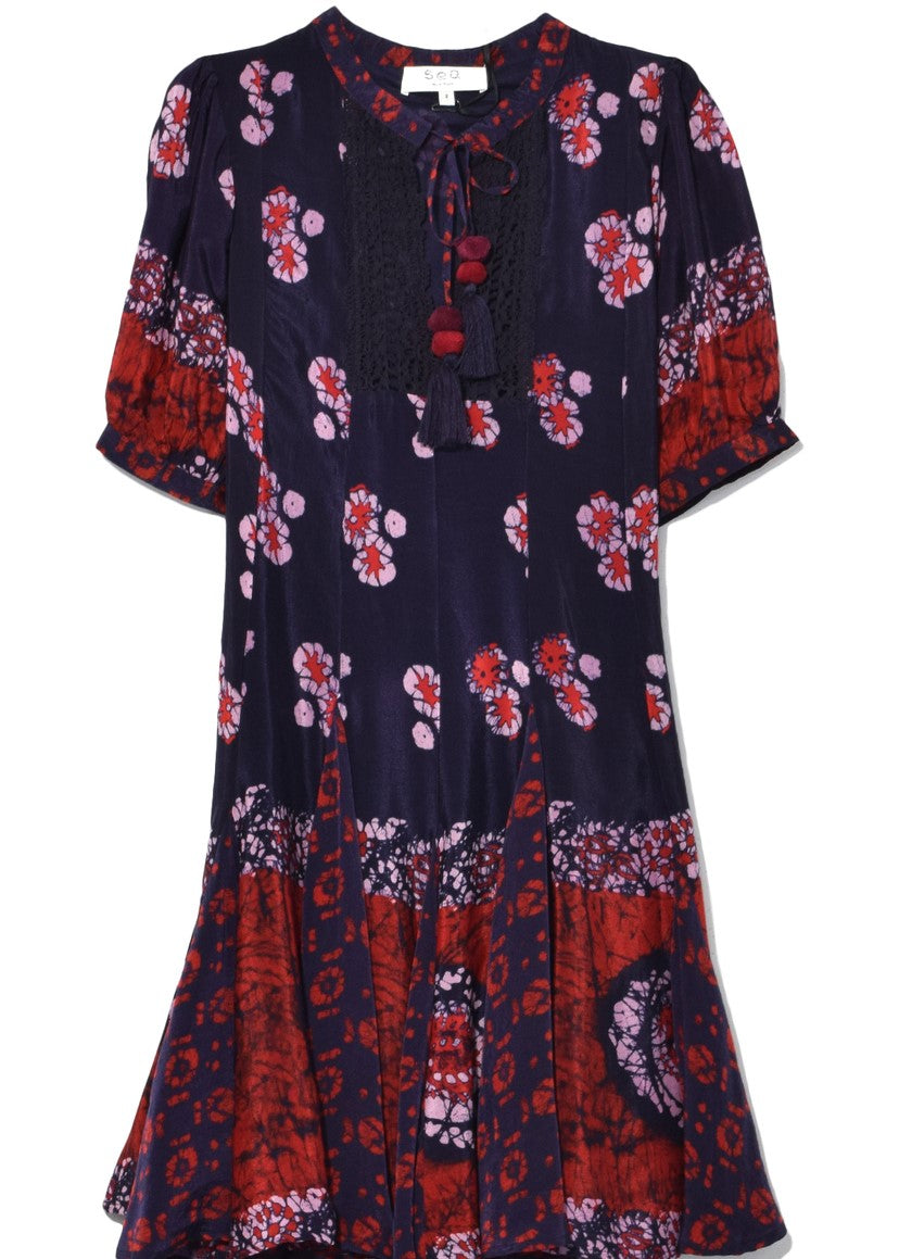 Sea godet tunic dress navy multi