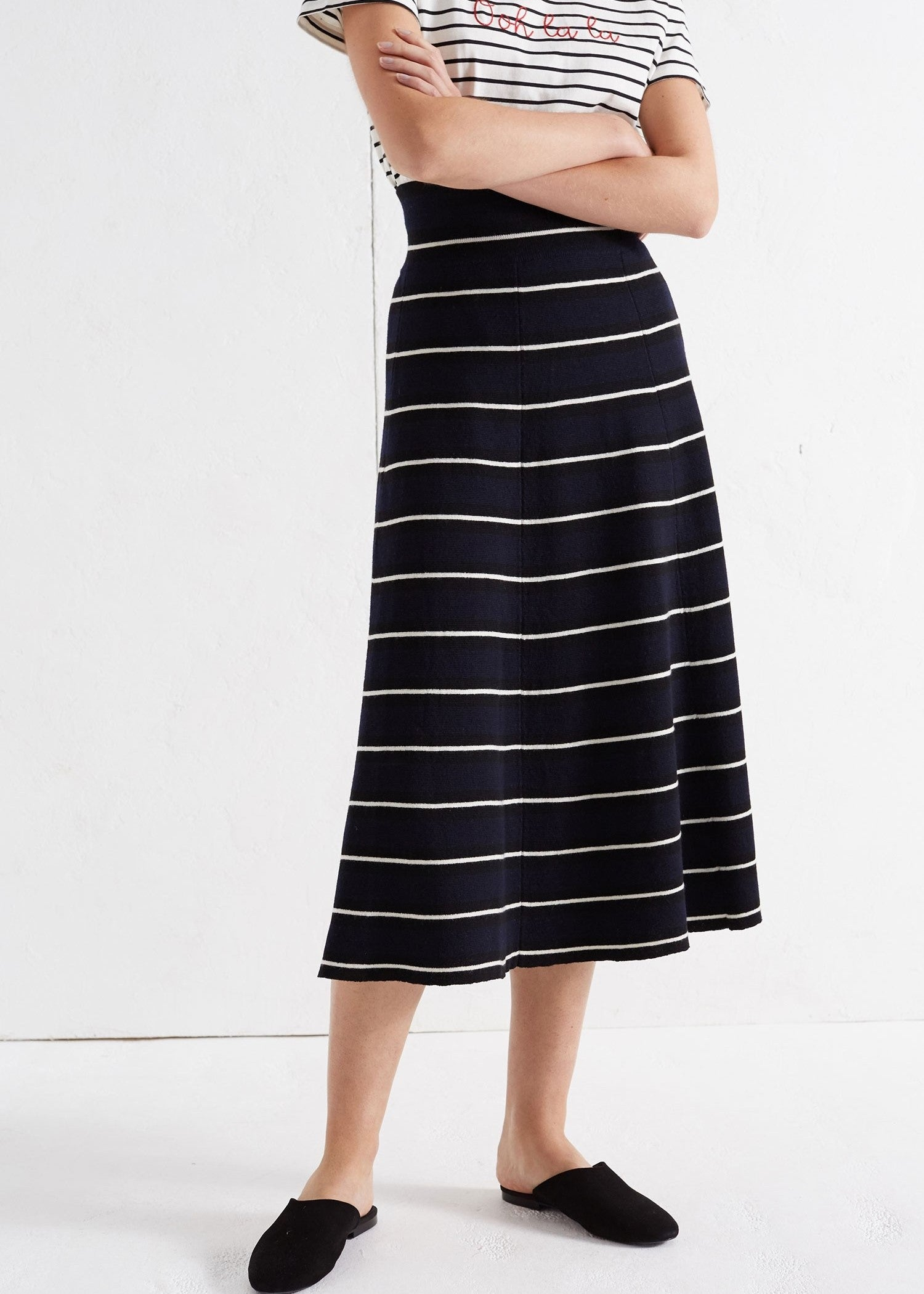 Chinti & Parker striped flared skirt navy