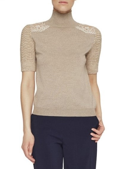 Blumarine shortsleeve turtleneck sweater w/ lace detail beige