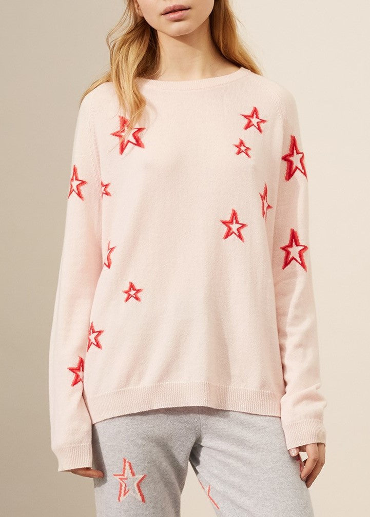 Chinti & Parker 3D slouchy star sweater blush