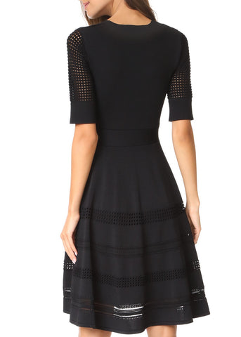 Carven babydoll short sleeve dress black