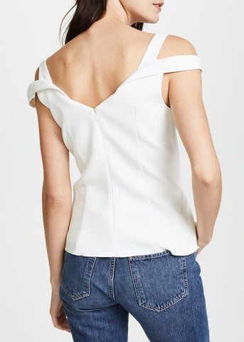 Carven drop shoulder top white