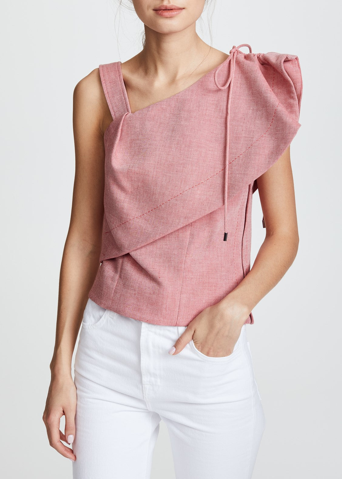 Carven ruffle shoulder pink