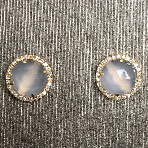 Rocks with Soul Chalcedony and Diamond Circle Stud Earrings yellow gold
