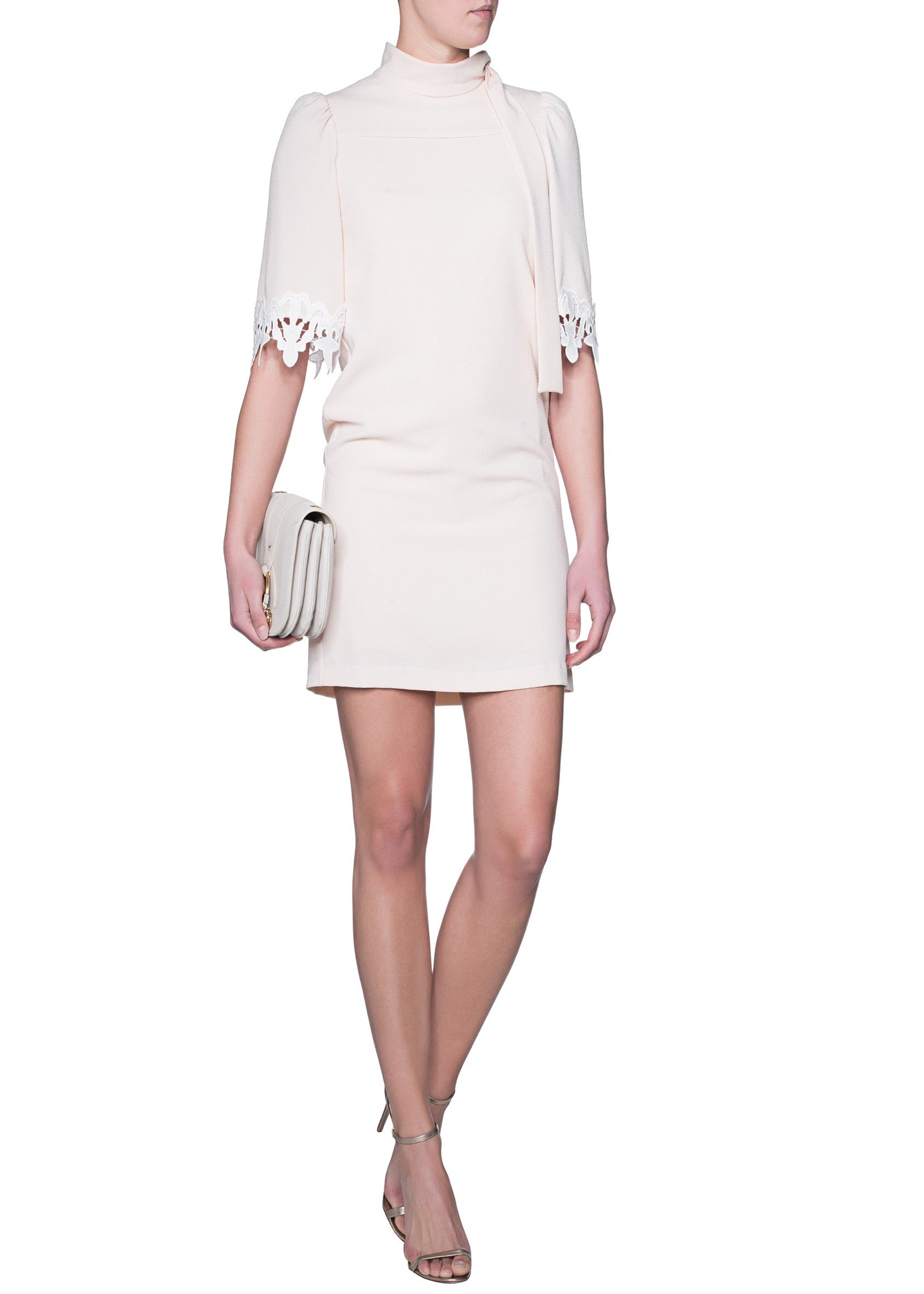 See by Chloe tie neck dress white