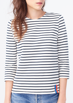 Kule modern long sleeve stripe tee cream navy
