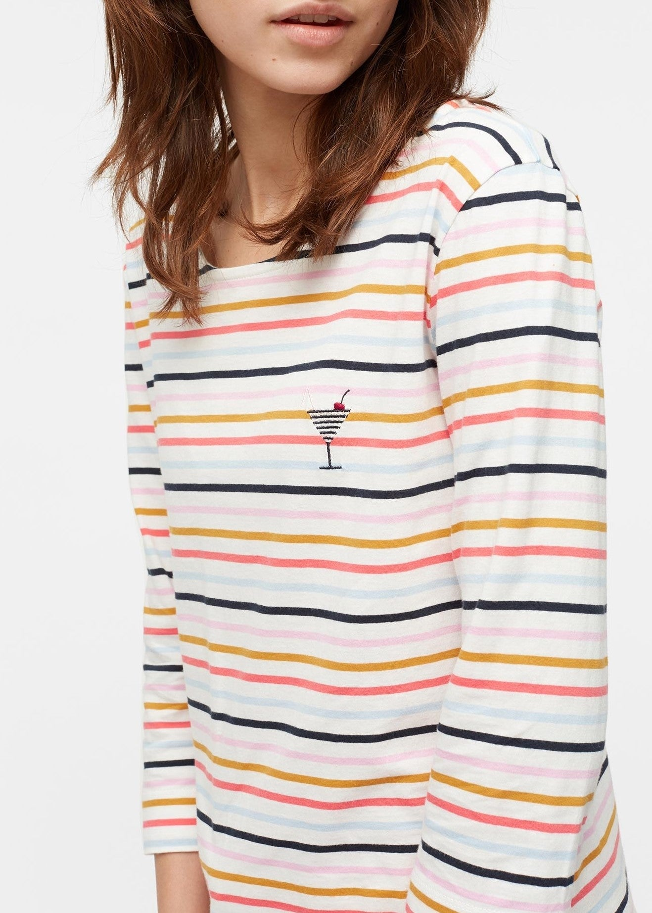 Chinti & Parker long sleeve breton top in ecru multi