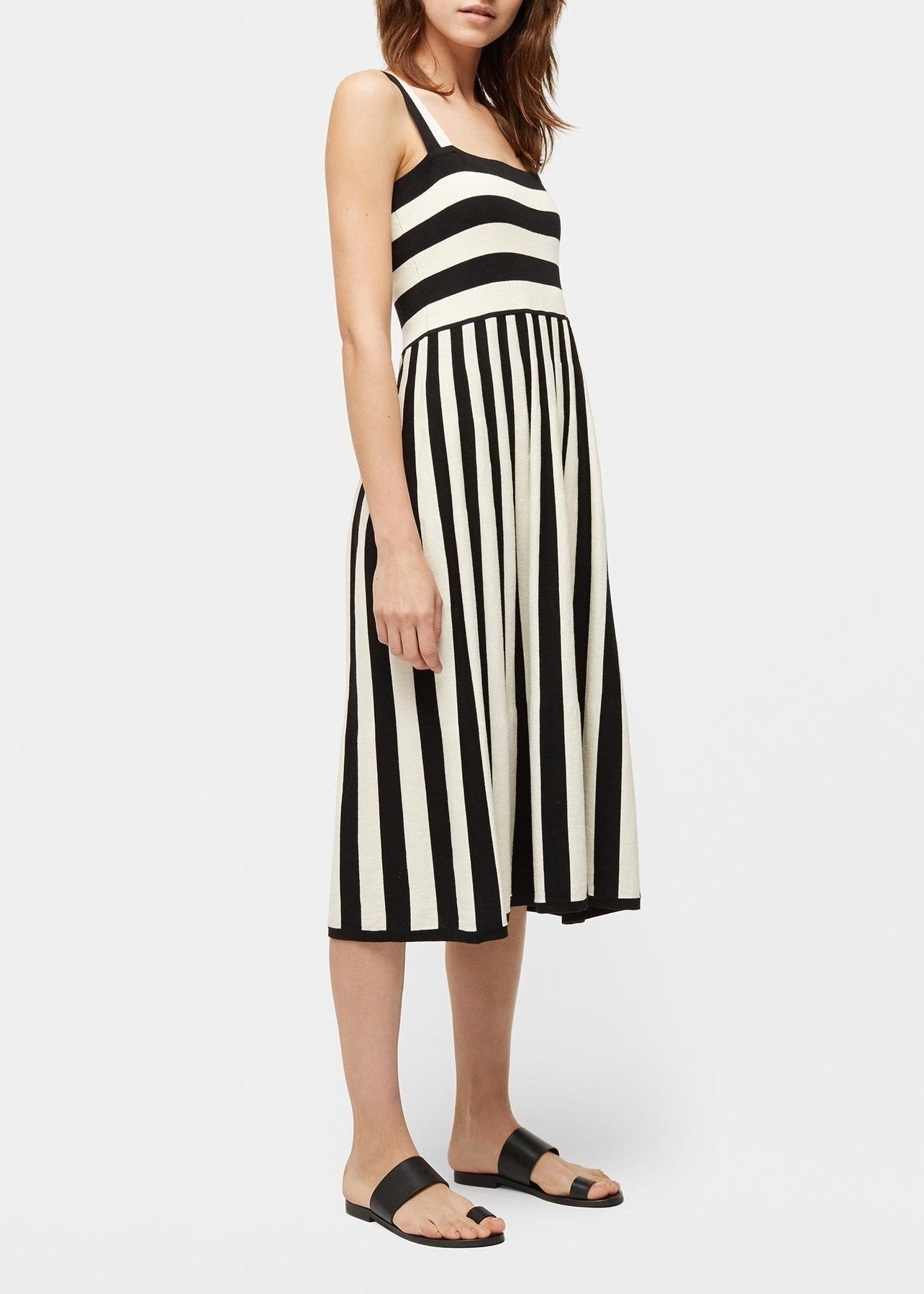 Chinti & Parker mixed stripe sundress in buttermilk black