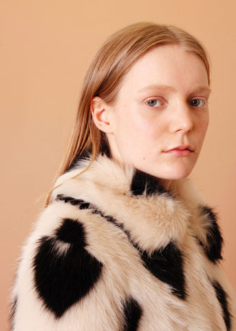 Shrimps Faux fur jacket with PVC frill collar in sand black