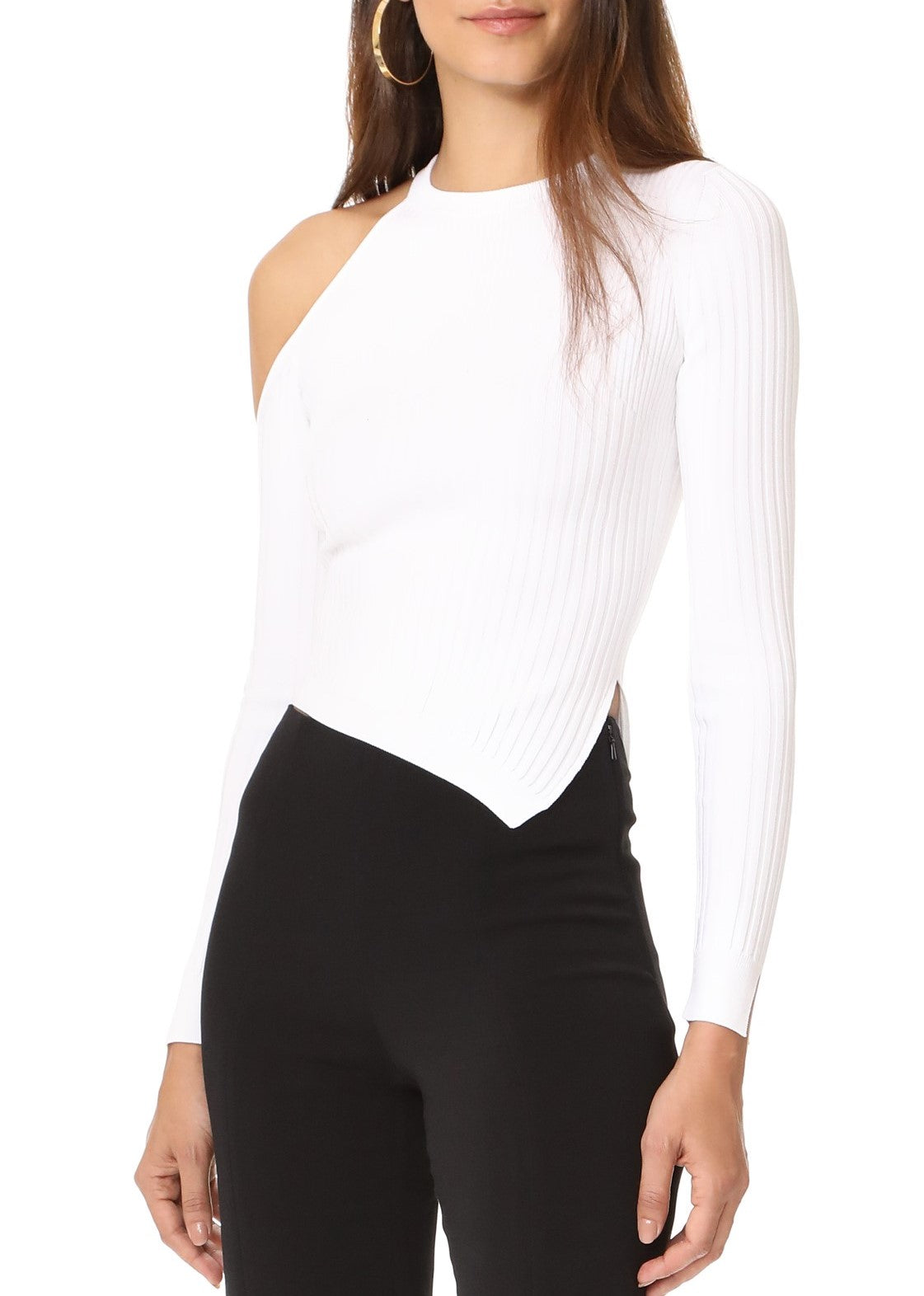 Cushnie et Ochs long sleeved single cold shoulder crop top white
