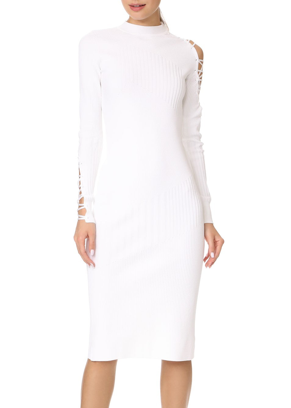 Cushnie et Ochs long sleeved midi dress with lacing white