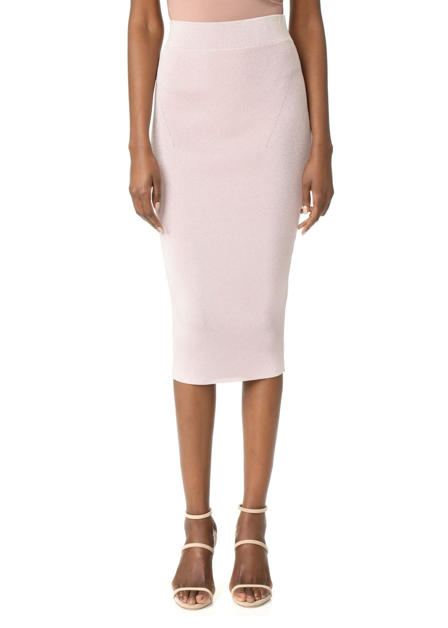 Cushnie et Ochs lurex knit pencil skirt metallic shell