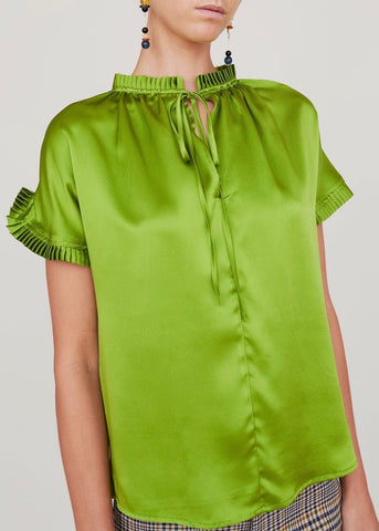 No. 6 Date night top in apple charmeuse