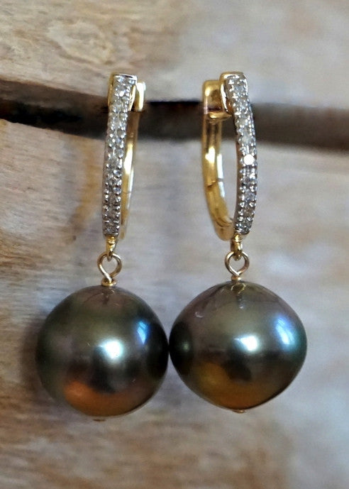 Designs by Alina classic Tahitian pearl & diamond earrings