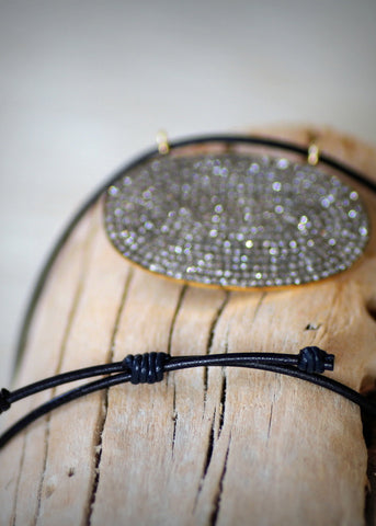 Designs by Alina grand pave diamond & leather necklace