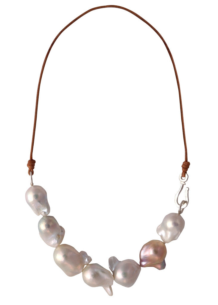 Designs by Alina grand seven baroque pearl necklace on leather cord