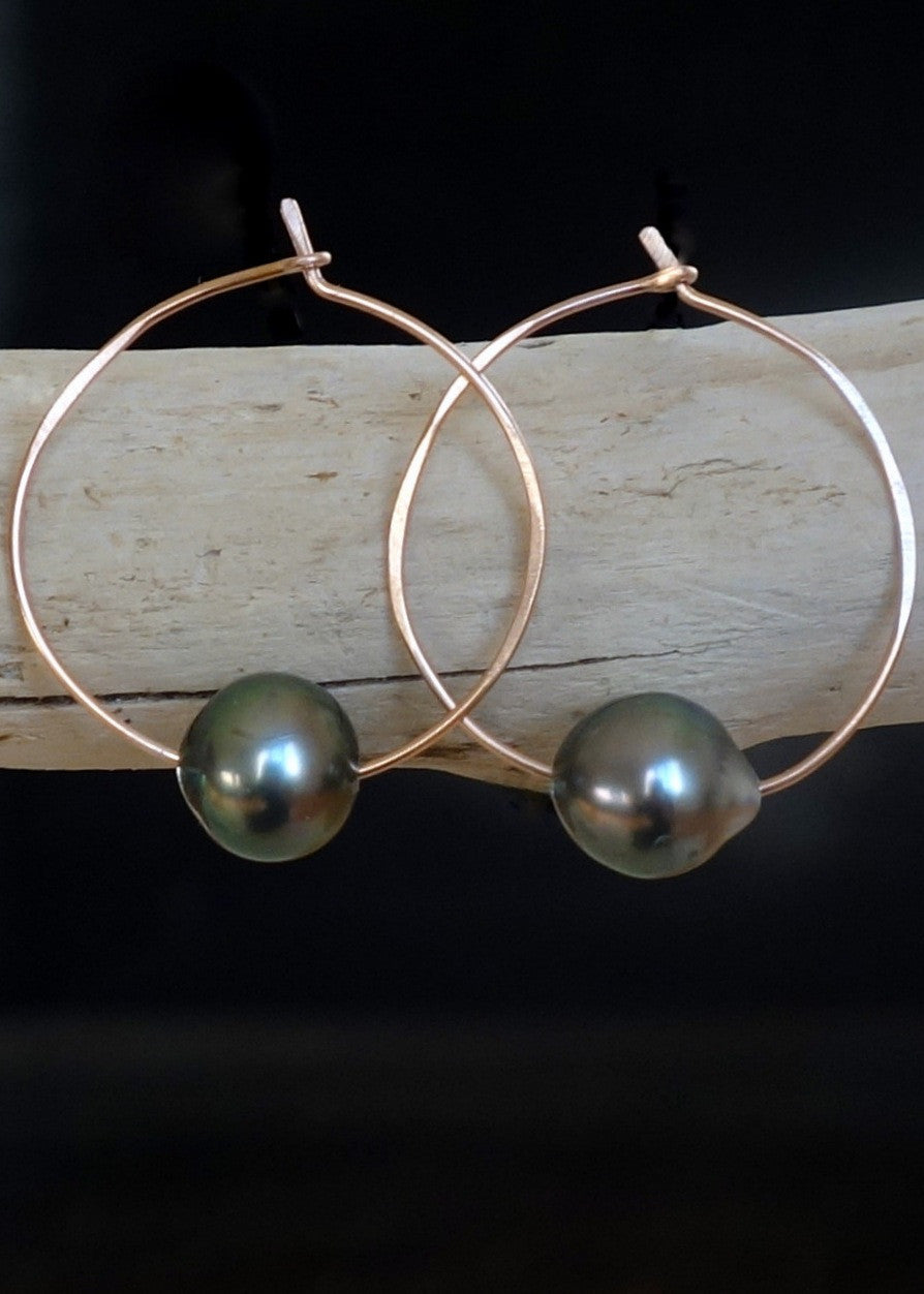 Designs by Alina Tahitian pearl on 14k rose gold hoop earrings