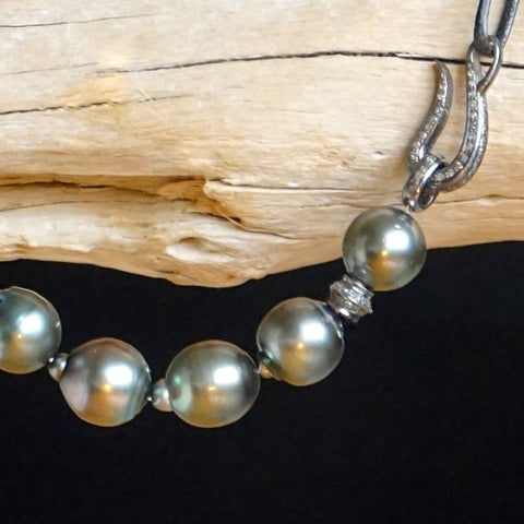 Designs by Alina Tahitian Queen pearl and diamond necklace