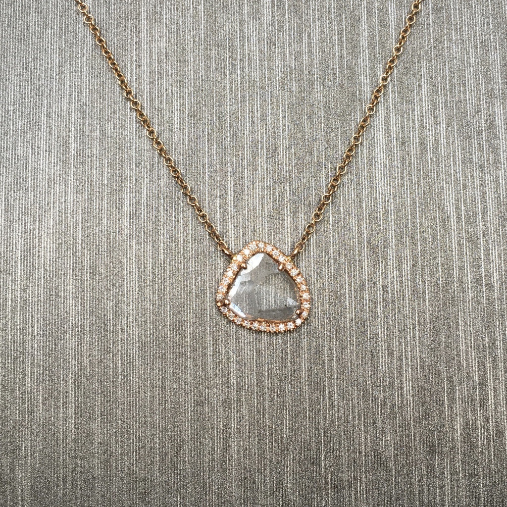 Rocks with Soul Diamond Slice Necklace Rose Gold