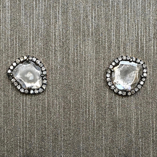 Rocks with Soul Diamond Slice Stud Earrings