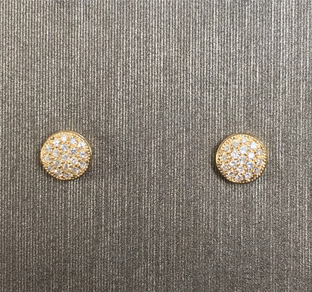 Rocks with Soul Small Pave Disc Stud Yellow Gold