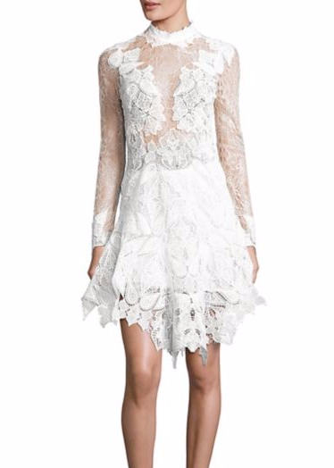 Jonathan Simkhai corded longsleeve lace dress white